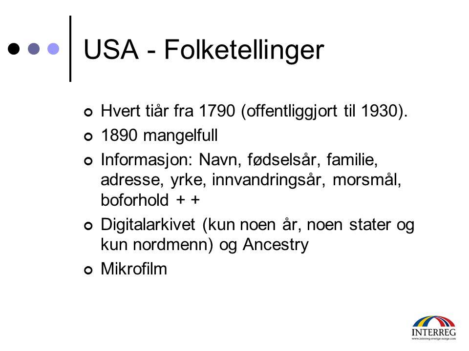 USA - Folketellinger Hvert tiår fra 1790 (offentliggjort til 1930). 1890 mangelfull Informasjon: Navn, fødselsår, familie, adresse, yrke, innvandrings
