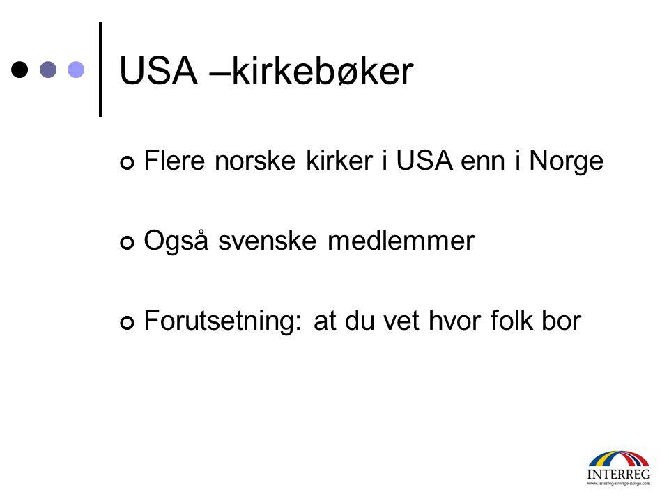 USA –kirkebøker Flere norske kirker i USA enn i Norge Også svenske medlemmer Forutsetning: at du vet hvor folk bor