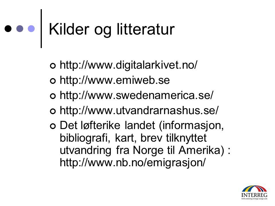 Kilder og litteratur http://www.digitalarkivet.no/ http://www.emiweb.se http://www.swedenamerica.se/ http://www.utvandrarnashus.se/ Det løfterike land