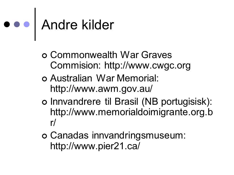 Andre kilder Commonwealth War Graves Commision: http://www.cwgc.org Australian War Memorial: http://www.awm.gov.au/ Innvandrere til Brasil (NB portugi