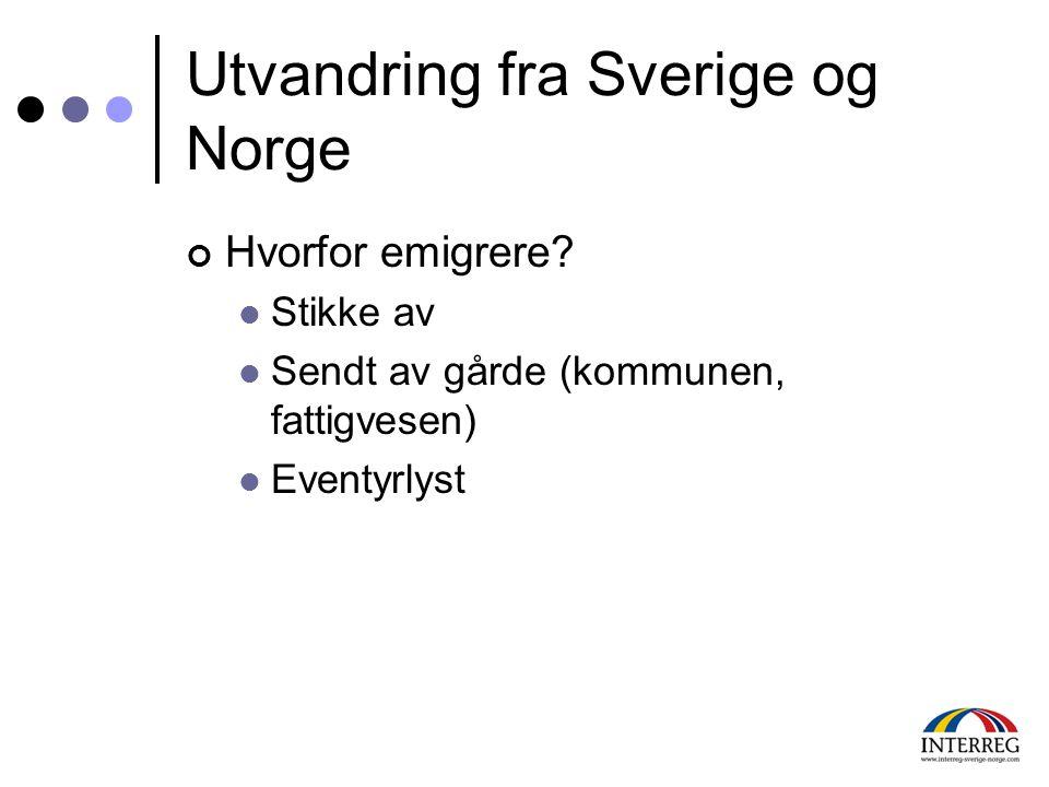 Utvandring fra Sverige og Norge Hvorfor emigrere?  Stikke av  Sendt av gårde (kommunen, fattigvesen)  Eventyrlyst