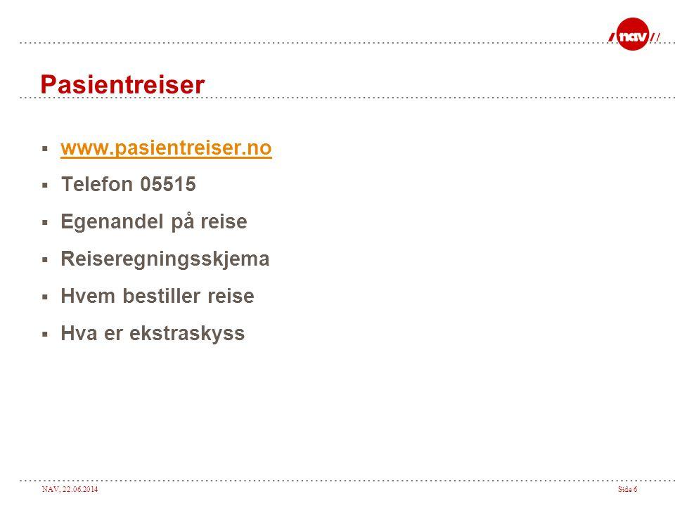 NAV, 22.06.2014Side 6 Pasientreiser  www.pasientreiser.no www.pasientreiser.no  Telefon 05515  Egenandel på reise  Reiseregningsskjema  Hvem bestiller reise  Hva er ekstraskyss