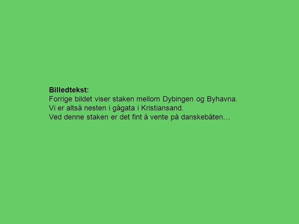 Billedtekst: Forrige bildet viser staken mellom Dybingen og Byhavna. Vi er altså nesten i gågata i Kristiansand. Ved denne staken er det fint å vente