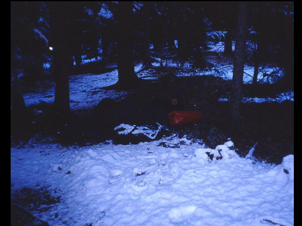 Billedtekst: Årets første snø kom overraskende, og jeg lå under åpen himmel.