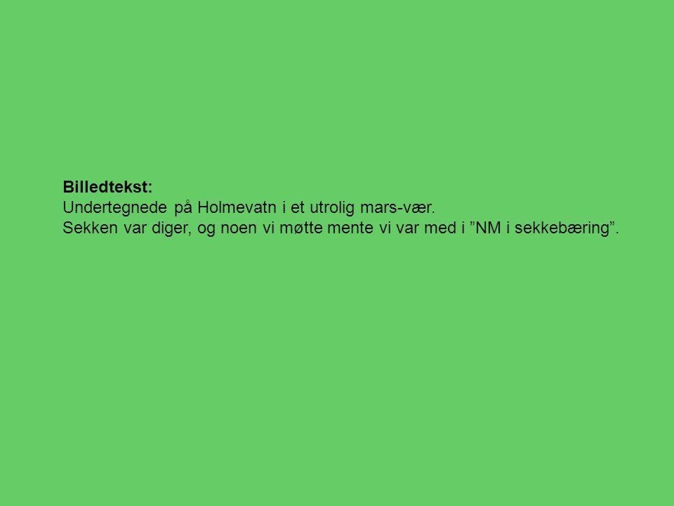 "Billedtekst: Undertegnede på Holmevatn i et utrolig mars-vær. Sekken var diger, og noen vi møtte mente vi var med i ""NM i sekkebæring""."
