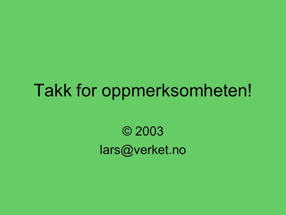 Takk for oppmerksomheten! © 2003 lars@verket.no