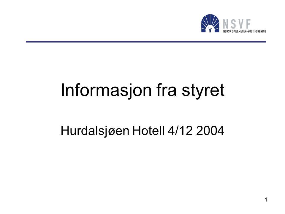 1 Informasjon fra styret Hurdalsjøen Hotell 4/12 2004