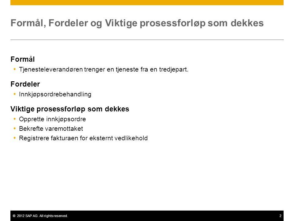 ©2012 SAP AG. All rights reserved.2 Formål, Fordeler og Viktige prosessforløp som dekkes Formål  Tjenesteleverandøren trenger en tjeneste fra en tred