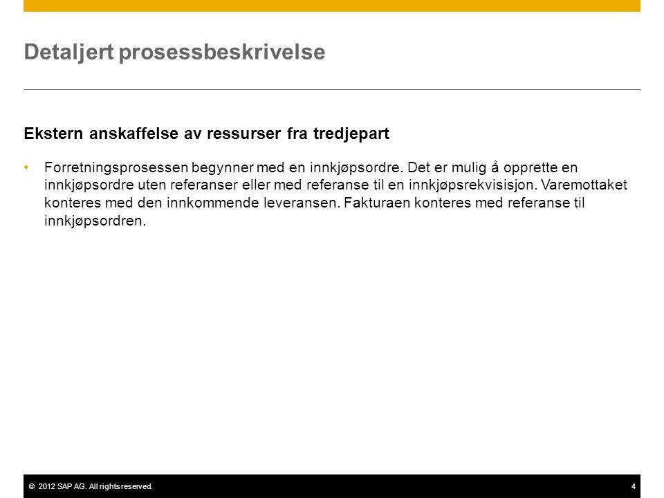 ©2012 SAP AG. All rights reserved.4 Detaljert prosessbeskrivelse Ekstern anskaffelse av ressurser fra tredjepart •Forretningsprosessen begynner med en