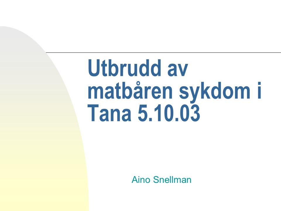 Utbrudd av matbåren sykdom i Tana 5.10.03 Aino Snellman