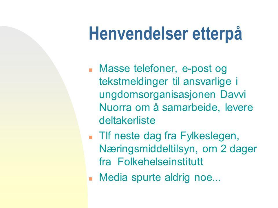 Henvendelser etterpå n Masse telefoner, e-post og tekstmeldinger til ansvarlige i ungdomsorganisasjonen Davvi Nuorra om å samarbeide, levere deltakerl