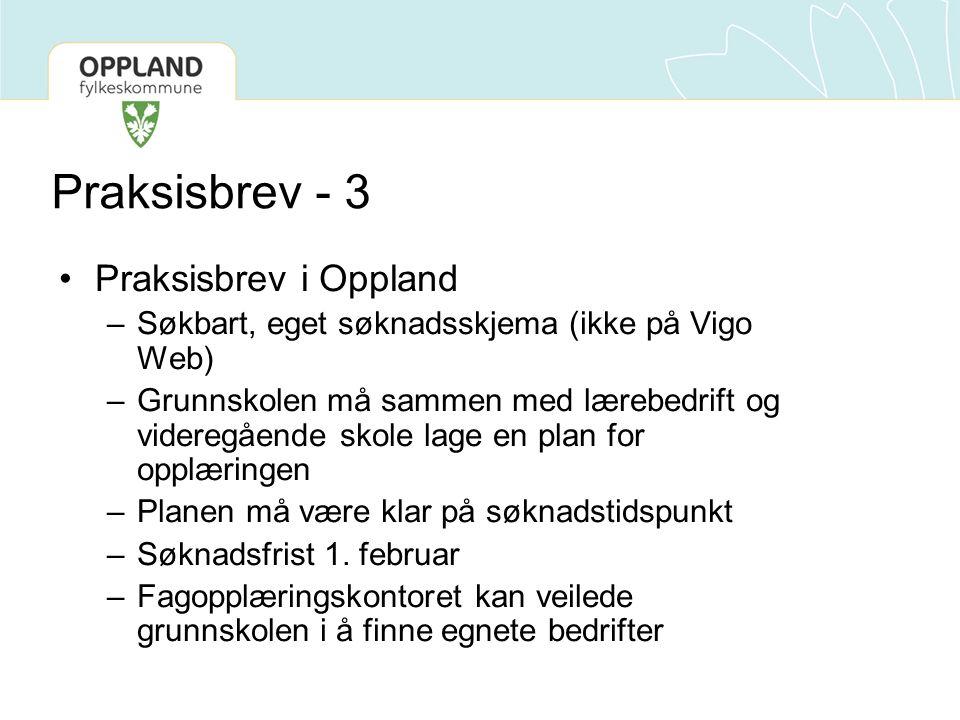 Praksisbrev - 3 •Praksisbrev i Oppland –Søkbart, eget søknadsskjema (ikke på Vigo Web) –Grunnskolen må sammen med lærebedrift og videregående skole la