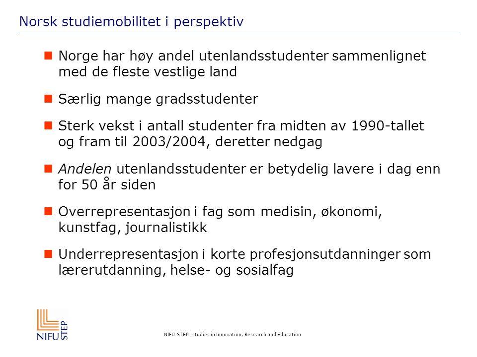 NIFU STEP studies in Innovation, Research and Education Norsk studiemobilitet i perspektiv  Norge har høy andel utenlandsstudenter sammenlignet med de fleste vestlige land  Særlig mange gradsstudenter  Sterk vekst i antall studenter fra midten av 1990-tallet og fram til 2003/2004, deretter nedgag  Andelen utenlandsstudenter er betydelig lavere i dag enn for 50 år siden  Overrepresentasjon i fag som medisin, økonomi, kunstfag, journalistikk  Underrepresentasjon i korte profesjonsutdanninger som lærerutdanning, helse- og sosialfag