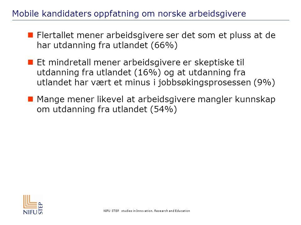 NIFU STEP studies in Innovation, Research and Education Mobile kandidaters oppfatning om norske arbeidsgivere  Flertallet mener arbeidsgivere ser det som et pluss at de har utdanning fra utlandet (66%)  Et mindretall mener arbeidsgivere er skeptiske til utdanning fra utlandet (16%) og at utdanning fra utlandet har vært et minus i jobbsøkingsprosessen (9%)  Mange mener likevel at arbeidsgivere mangler kunnskap om utdanning fra utlandet (54%)