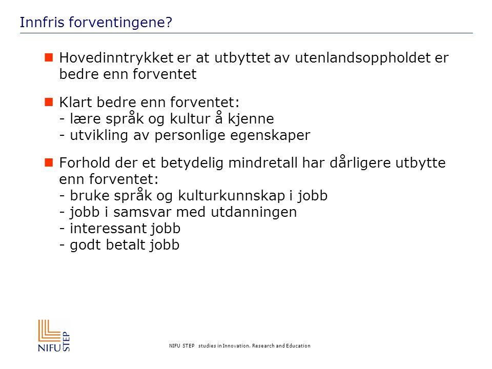 NIFU STEP studies in Innovation, Research and Education Innfris forventingene?  Hovedinntrykket er at utbyttet av utenlandsoppholdet er bedre enn for