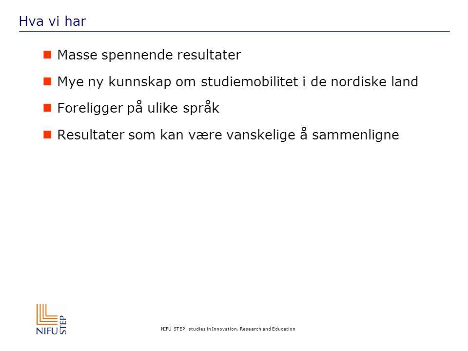 NIFU STEP studies in Innovation, Research and Education Hva vi har  Masse spennende resultater  Mye ny kunnskap om studiemobilitet i de nordiske land  Foreligger på ulike språk  Resultater som kan være vanskelige å sammenligne