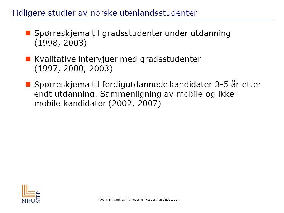 NIFU STEP studies in Innovation, Research and Education Tidligere studier av norske utenlandsstudenter  Spørreskjema til gradsstudenter under utdanning (1998, 2003)  Kvalitative intervjuer med gradsstudenter (1997, 2000, 2003)  Spørreskjema til ferdigutdannede kandidater 3-5 år etter endt utdanning.