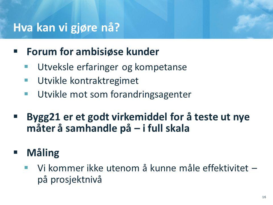 Hva kan vi gjøre nå?  Forum for ambisiøse kunder  Utveksle erfaringer og kompetanse  Utvikle kontraktregimet  Utvikle mot som forandringsagenter 