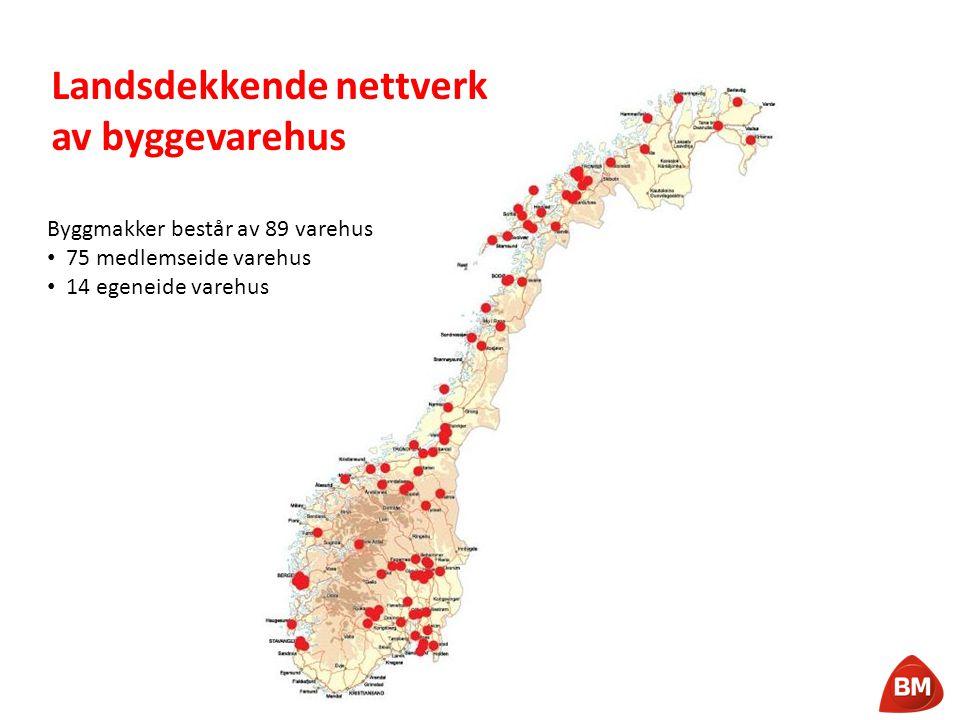Landsdekkende nettverk av byggevarehus Byggmakker består av 89 varehus • 75 medlemseide varehus • 14 egeneide varehus