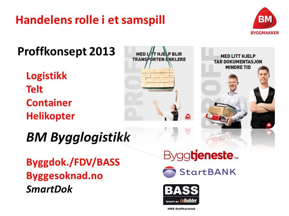 Handelens rolle i et samspill Proffkonsept 2013 Logistikk Telt Container Helikopter BM Bygglogistikk Byggdok./FDV/BASS Byggesoknad.no SmartDok