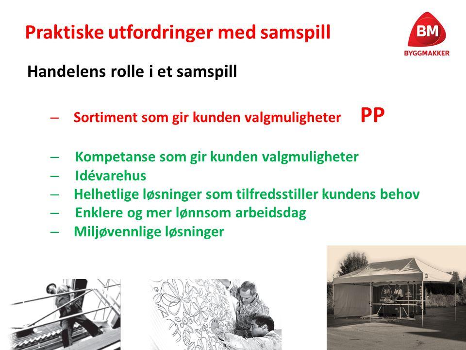 Praktiske utfordringer med samspill Handelens rolle i et samspill – Sortiment som gir kunden valgmuligheter PP – Kompetanse som gir kunden valgmulighe