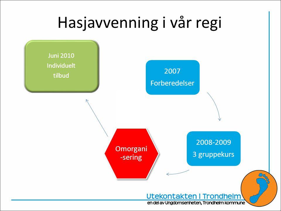 Hasjavvenning i vår regi 2007 Forberedelser 2008-2009 3 gruppekurs Omorgani -sering Juni 2010 Individuelt tilbud