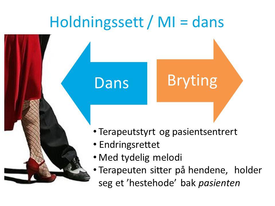 Holdningssett / MI = dans • Terapeutstyrt og pasientsentrert • Endringsrettet • Med tydelig melodi • Terapeuten sitter på hendene, holder seg et 'hestehode' bak pasienten DansBryting
