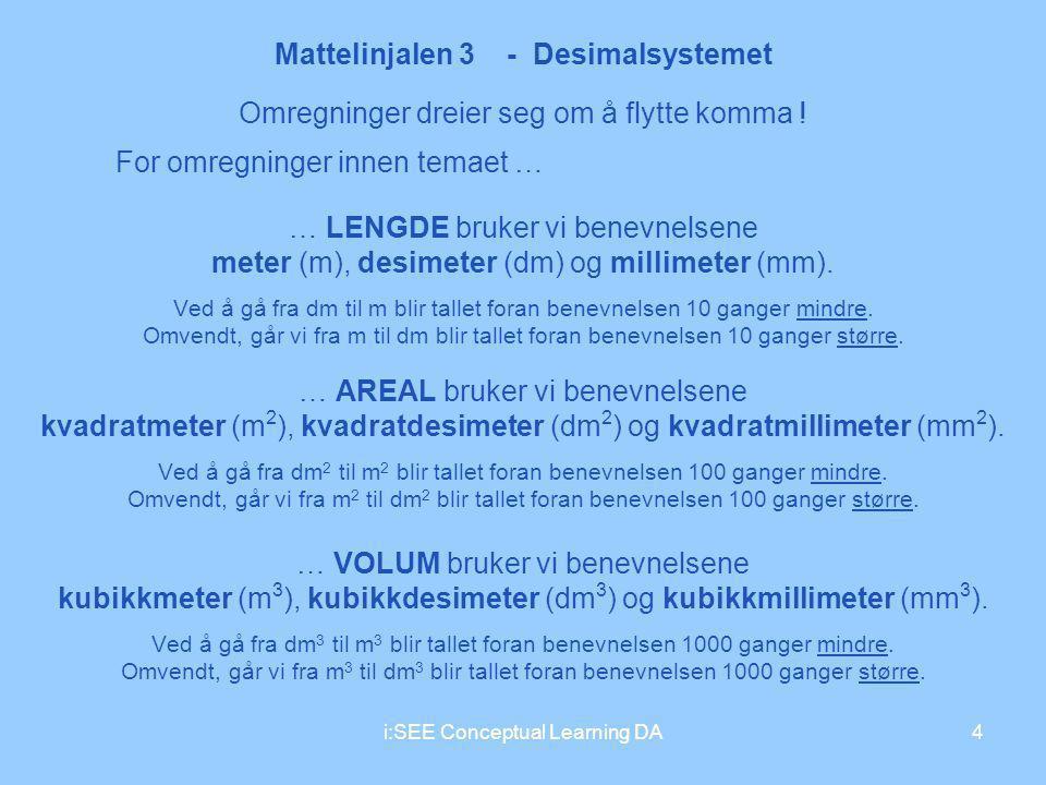 Mattelinjalen 3 - Desimalsystemet 4i:SEE Conceptual Learning DA Omregninger dreier seg om å flytte komma ! For omregninger innen temaet … … LENGDE bru
