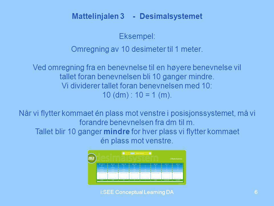Mattelinjalen 3 - Desimalsystemet 6i:SEE Conceptual Learning DA Eksempel: Omregning av 10 desimeter til 1 meter. Ved omregning fra en benevnelse til e