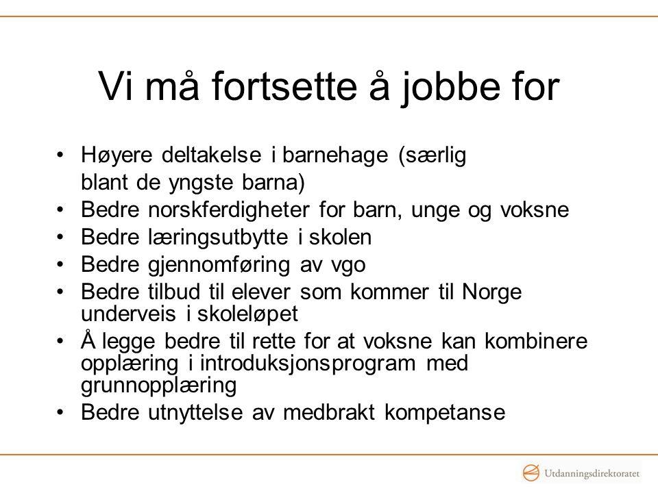 Vi må fortsette å jobbe for •Høyere deltakelse i barnehage (særlig blant de yngste barna) •Bedre norskferdigheter for barn, unge og voksne •Bedre læri