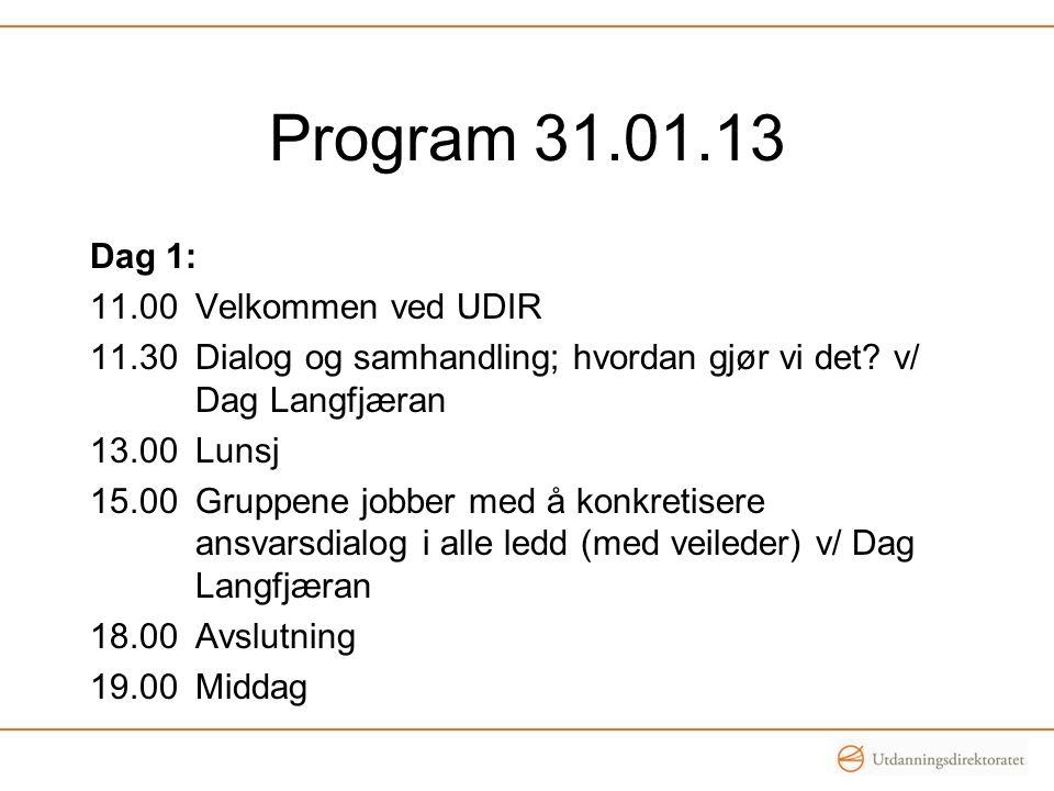 Program 31.01.13 Dag 1: 11.00Velkommen ved UDIR 11.30 Dialog og samhandling; hvordan gjør vi det? v/ Dag Langfjæran 13.00Lunsj 15.00Gruppene jobber me