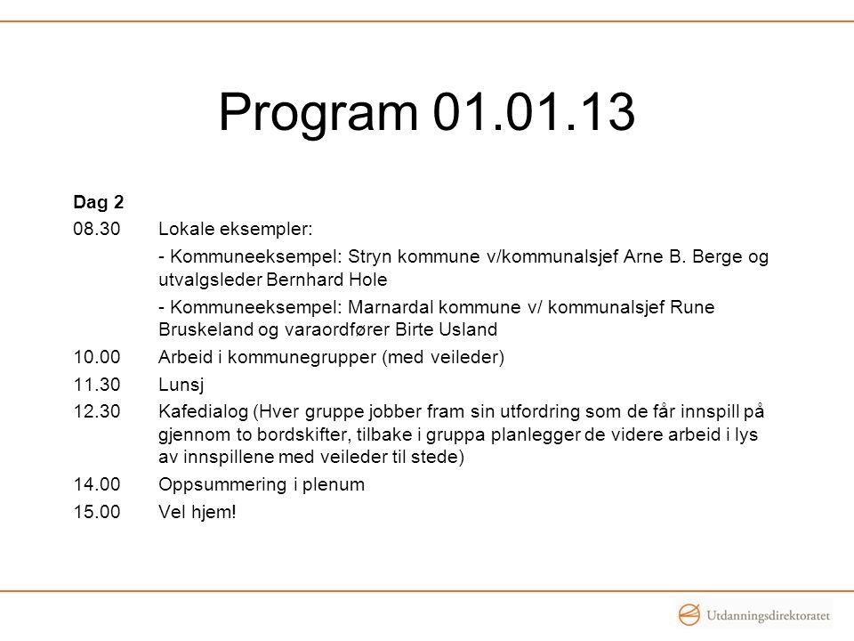 Program 01.01.13 Dag 2 08.30Lokale eksempler: - Kommuneeksempel: Stryn kommune v/kommunalsjef Arne B. Berge og utvalgsleder Bernhard Hole - Kommuneeks