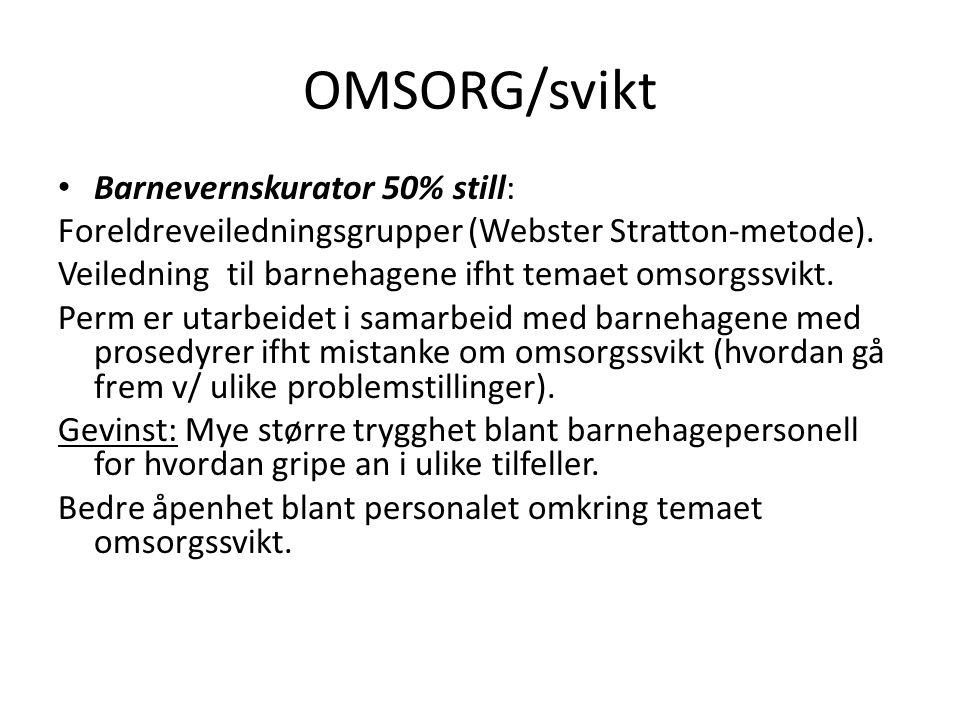 OMSORG/svikt • Barnevernskurator 50% still: Foreldreveiledningsgrupper (Webster Stratton-metode). Veiledning til barnehagene ifht temaet omsorgssvikt.