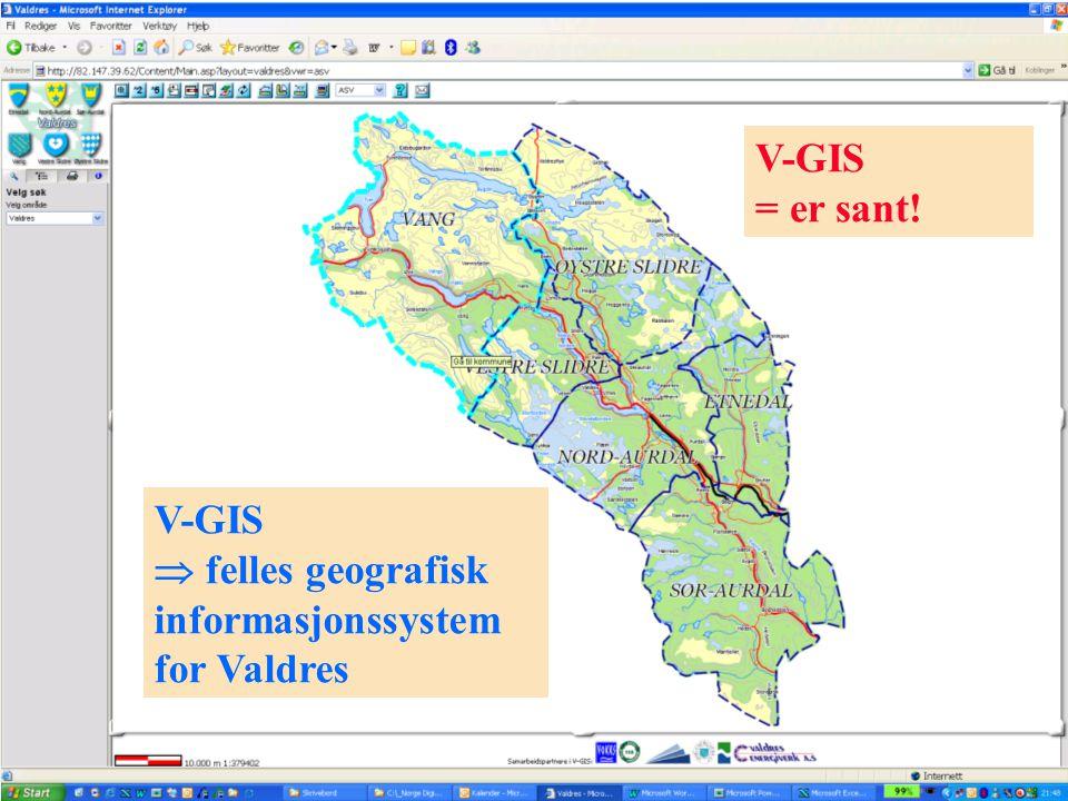 Lokale kartdager Hedmark og Oppland - 30-31.01.2006 V-GIS  felles geografisk informasjonssystem for Valdres V-GIS = er sant!
