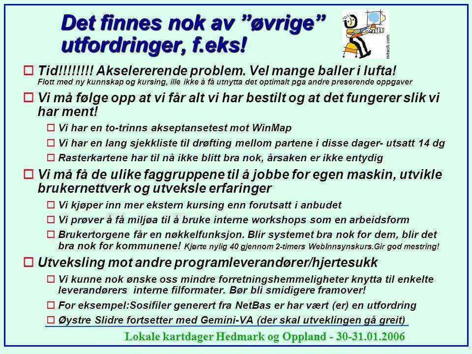 """Lokale kartdager Hedmark og Oppland - 30-31.01.2006 Det finnes nok av """"øvrige"""" utfordringer, f.eks! oTid!!!!!!!! Akselererende problem. Vel mange ball"""