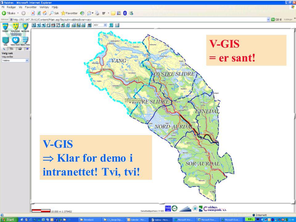 Lokale kartdager Hedmark og Oppland - 30-31.01.2006 V-GIS  Klar for demo i intranettet! Tvi, tvi! V-GIS = er sant!