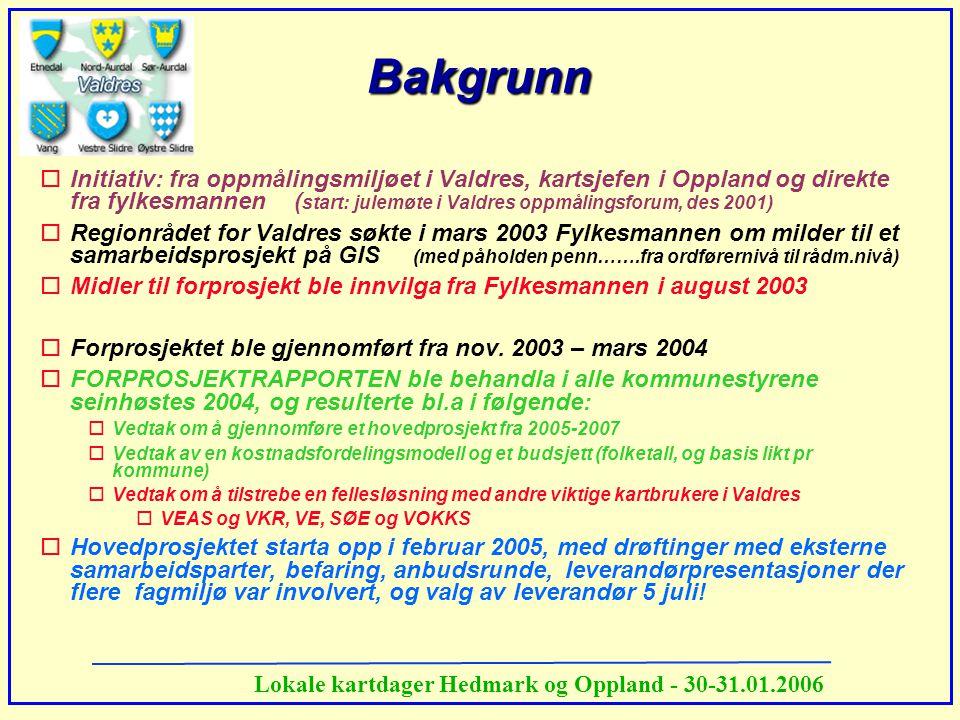 Lokale kartdager Hedmark og Oppland - 30-31.01.2006 Bakgrunn oInitiativ: fra oppmålingsmiljøet i Valdres, kartsjefen i Oppland og direkte fra fylkesma