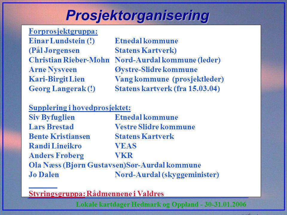 Lokale kartdager Hedmark og Oppland - 30-31.01.2006 Prosjektorganisering Forprosjektgruppa: Einar Lundstein (!)Etnedal kommune (Pål Jørgensen Statens
