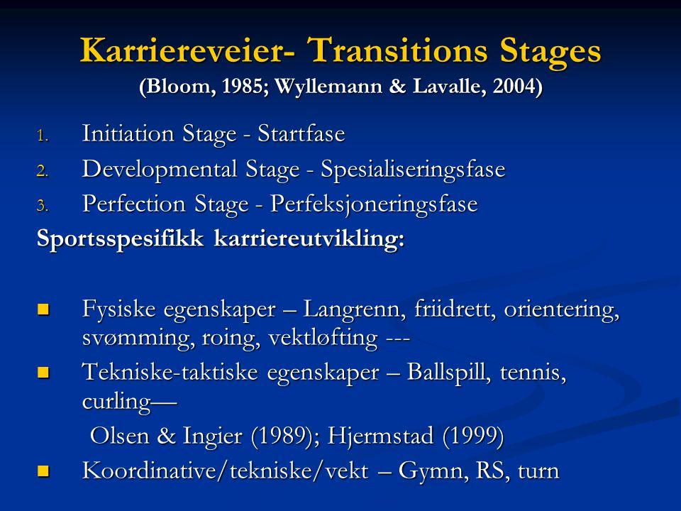 """Elite prestasjoner gjennom tidlig allsidighet """"early diversification"""" i treningsprosessen (Cote et al., 2007) To underliggende forutsetninger for å be"""