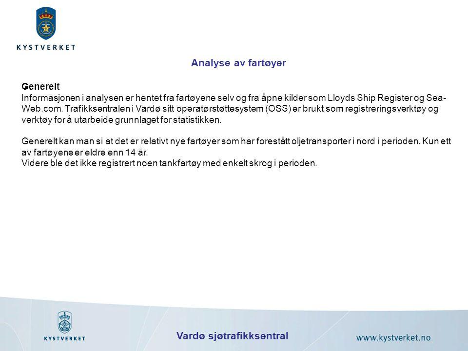 Vardø sjøtrafikksentral Analyse av fartøyer Generelt Informasjonen i analysen er hentet fra fartøyene selv og fra åpne kilder som Lloyds Ship Register