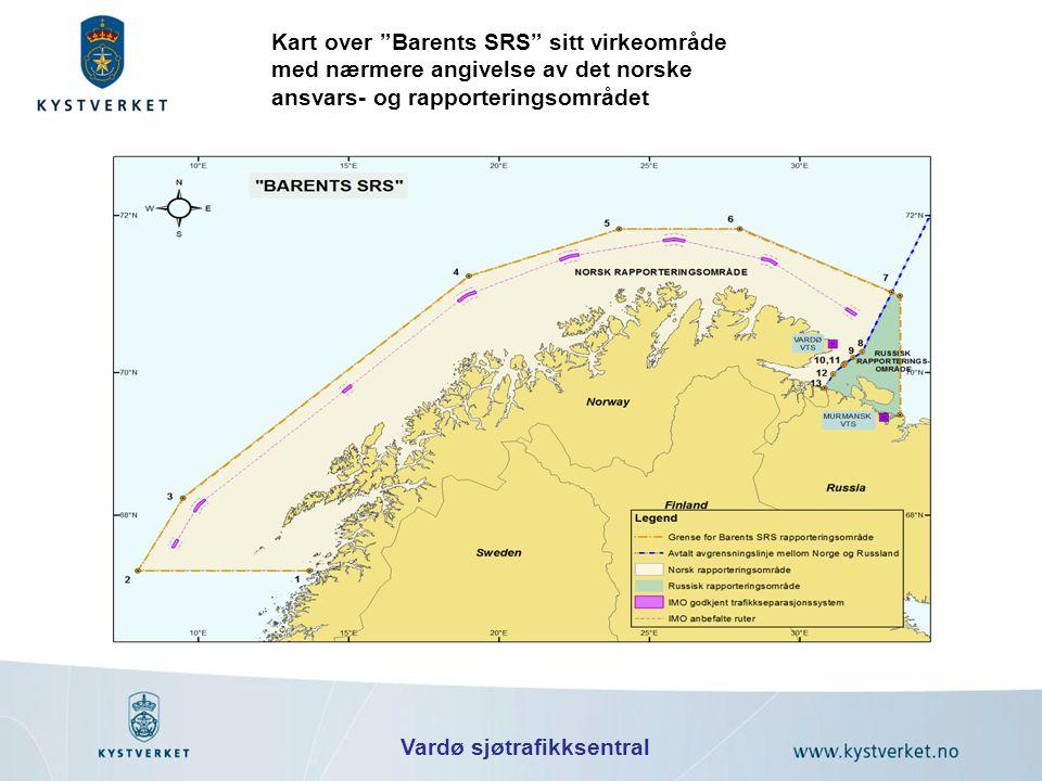"""Kart over """"Barents SRS"""" sitt virkeområde med nærmere angivelse av det norske ansvars- og rapporteringsområdet Vardø sjøtrafikksentral"""