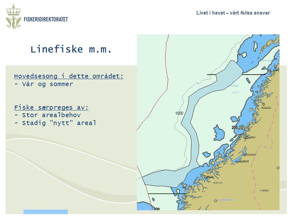 """Livet i havet – vårt felles ansvar Linefiske m.m. Hovedsesong i dette området: - Vår og sommer Fiske særpreges av: - Stor arealbehov - Stadig """"nytt"""" a"""