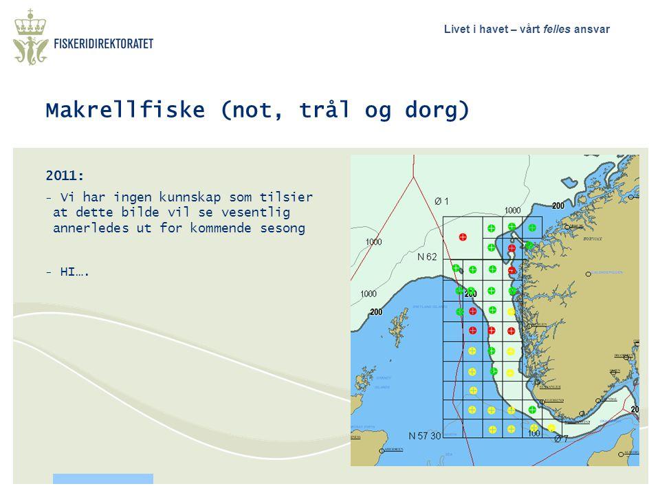 Livet i havet – vårt felles ansvar Makrellfiske (not, trål og dorg) 2011: - Vi har ingen kunnskap som tilsier at dette bilde vil se vesentlig annerled