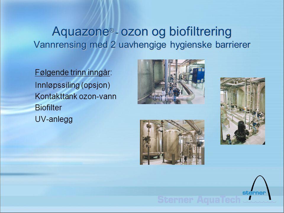 Aquazone ® - ozon og biofiltrering Vannrensing med 2 uavhengige hygienske barrierer Følgende trinn inngår: Innløpssiling (opsjon) Kontakttank ozon-van