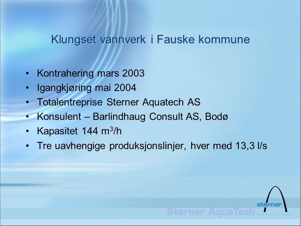 Klungset vannverk i Fauske kommune •Kontrahering mars 2003 •Igangkjøring mai 2004 •Totalentreprise Sterner Aquatech AS •Konsulent – Barlindhaug Consul