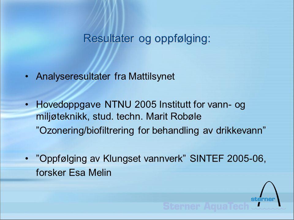 """Resultater og oppfølging: •Analyseresultater fra Mattilsynet •Hovedoppgave NTNU 2005 Institutt for vann- og miljøteknikk, stud. techn. Marit Robøle """"O"""