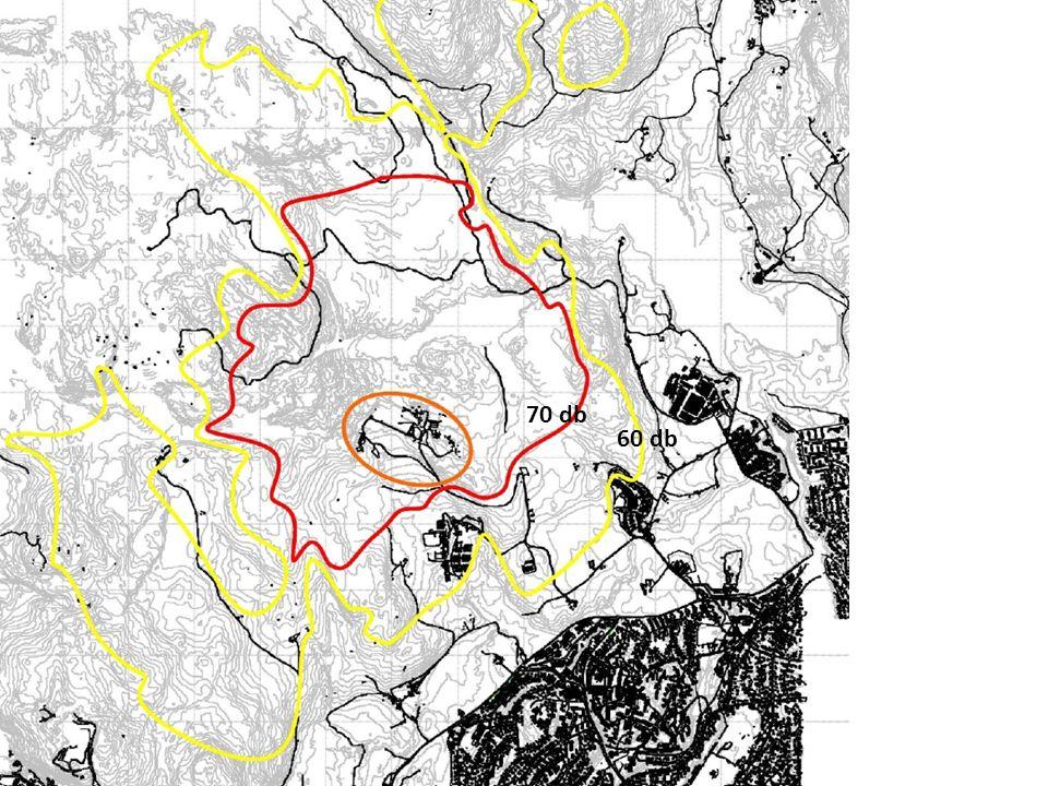 Støykart etter utbygging - Skytterforbundet 70 db 60 db