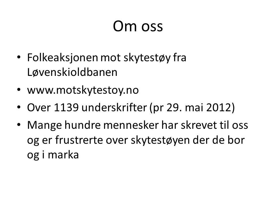 Om oss • Folkeaksjonen mot skytestøy fra Løvenskioldbanen • www.motskytestoy.no • Over 1139 underskrifter (pr 29. mai 2012) • Mange hundre mennesker h