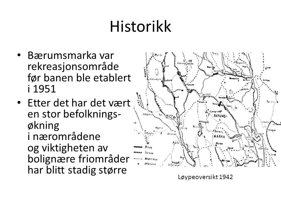 Historikk • Bærumsmarka var rekreasjonsområde før banen ble etablert i 1951 • Etter det har det vært en stor befolknings- økning i nærområdene og vikt