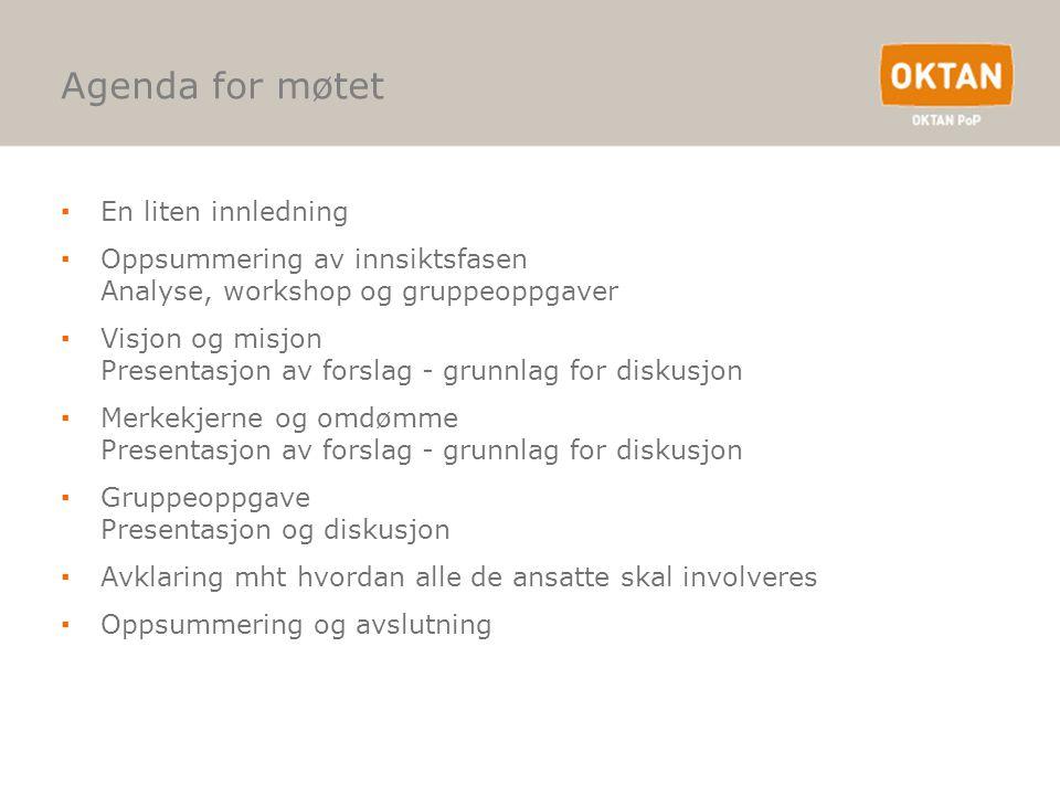 Agenda for møtet ▪En liten innledning ▪Oppsummering av innsiktsfasen Analyse, workshop og gruppeoppgaver ▪Visjon og misjon Presentasjon av forslag - g
